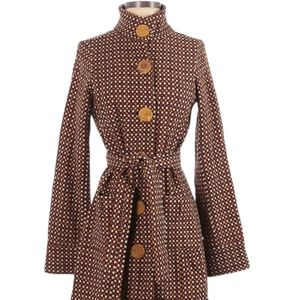 Free People Brown Belt Big Button Front Coat 4